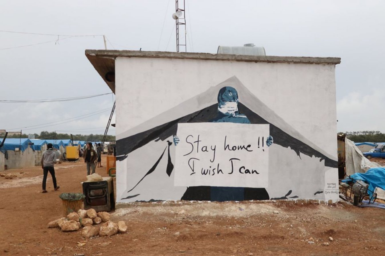 Syrian Banksy painting at a refugee camp in Idlib, Syria. Syrian Banksy is an initiative of PAX partner organisation Kesh Malek.