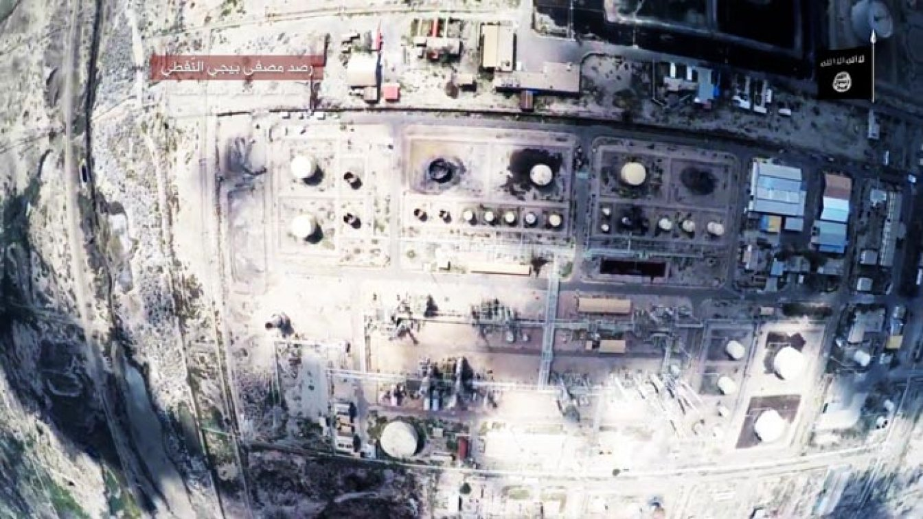 With a commercial drone ISIS conducts an attack on an oil refinery.