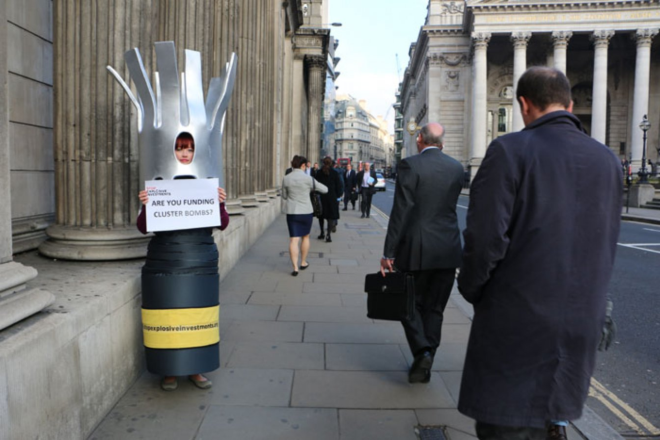 Campaigner dressed as a cluster bomb. © Cluster Munition Coalition
