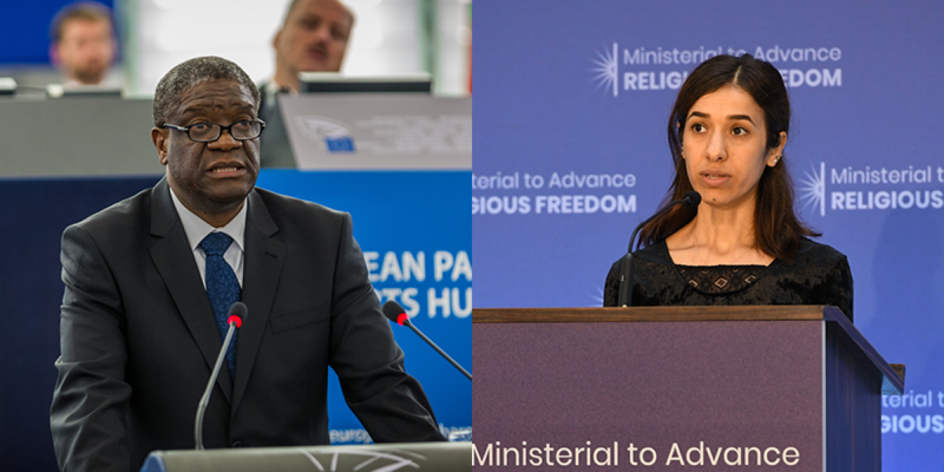 Nobel Peace Prize winners Dr. Dennis Mukwege and Nadia Murad. Photo of Dr Mukwege: Claude Truong-Ngoc/Wikimedia Commons