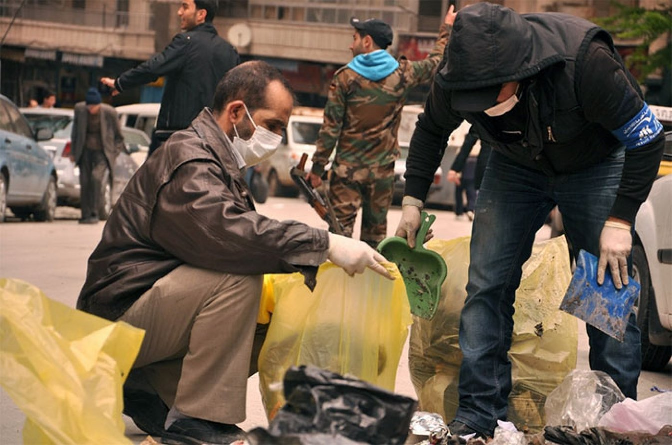 In an attempt to help keep Aleppo's city center clean and prevent the spread of diseases linked to rubbish, the Jesuit Refugee Service and Syrian NGOs took part in a clean-up campaign. Photo
