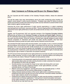Corporate NGO Statement on Policing and Respect for Human Rights